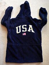 Vintage RALPH LAUREN Fleece Jacket USA FLAG Spell Out SMALL MEDIUM Polo Sport bz