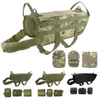 Tactical Vest Military Dog Harness K9 Nylon Molle Hunting Training  Pouch Bag