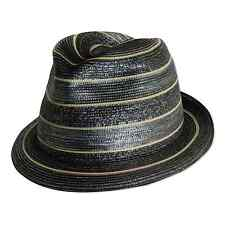 MAKINS HATS Trilby S 55 Cm 6 7/8 Black w green stripes Hand Crafted Leather Hat