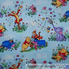 BonEful Fabric BTY Cotton Quilt Winnie the Pooh Baby Eeyore Piglet Spring Flower