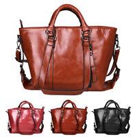 Women Oiled Leather Shoulder Bag Handbag Lady Tote Satchel Purse Messenger Bags