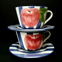 NEW Apple Stripe Blue 2 XLG 16 oz Cappuccino Cups Saucers Laurie Gates Vintage