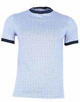 Billionaire Couture Men's White Blue Cotton Crewneck T-Shirt, size 44A (XXS)