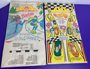 15 pc Barbie Hot Wheels Happy Meal McDonalds Paper Bags 1995 Party Favor Unused