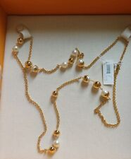 Tory Burch Capped crystal Pearl Chain Rosary Necklace