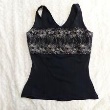 Flexees Women's sz 2XL Nylon Blend Black Lace Sleeveless Tank Top