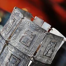 """900 silver bracelet 7.0"""" wide aztec god 1920's antique handmade  50.4gr"""
