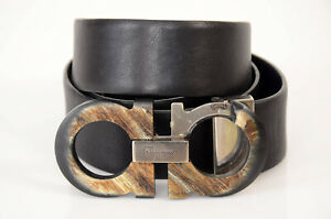 Salvatore Ferragamo navy black 33 reversible horn gancini waist belt NEW $495