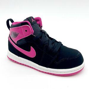 Nike Jordan 1 Retro High GT Black Vivid Pink White 705324 008 Toddler Size 9
