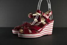 """Michael Kors Girls """"leather"""" Violet Red Wedges Size US 1 EUR 32.5"""