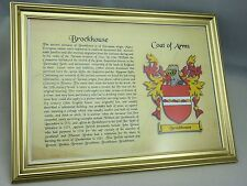 YOUR FAMILY NAME &  COAT OF ARMS - IDEAL GIFT - WITH GOLD FRAME