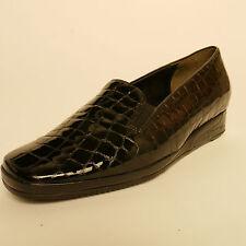 Ladies Van Dal Rochester XE Slip On Shoes Black Patent Croc Leather EEE Width
