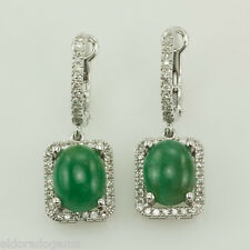 NATURAL EMERALD & 0.80 CT. SI1 - G  HALO DIAMONDS DANGLE EARRINGS 14K WHITE GOLD