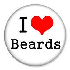 "I Love Beards 25mm 1"" Pin Badge Button Shave Moustache Geek Nerd Hairy Bears"