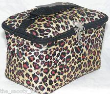 Leopard Animal Print Makeup Bag Cosmetic MEDS Case Brown Multi Black Trim Lined