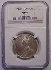 INDIA-BRITISH-1922 B Rupee NGC MS64 Key Date Nice coin Rare grade