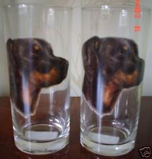 Doberman Drinking Glass Pair