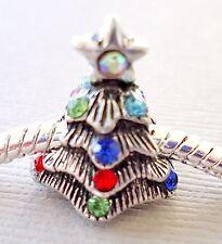 ONE Charm Bead CHRISTMAS TREE Rhinestones for European Charm Bracelet C22