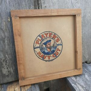 Players navy cut sign repurposed shipping box advertising wall hanging vintage 2