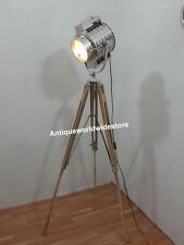 COLLECTIBLE SEARCHLIGHT NAUTICAL SPOT LIGHT STUDIO FLOOR LAMP WITH TEAK STAND
