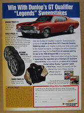 1999 Dunlop Tires WIN a 1971 Chevelle SS454 SS-454 car photo vintage print Ad