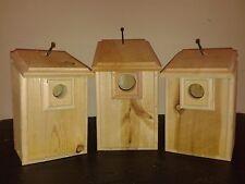 3 CEDAR Bird Houses 1 Bluebird, 1 Wren, 1 Chickadee Easy to Open and Clean
