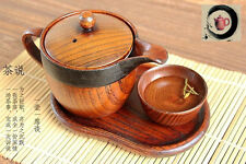JAPANESE Chinese WOODEN TEA POT,teapot cup tray sets,Kettle Jujube wood, camphor