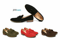 Mens Leather Smart Casual Slip On Loafers Designer Suede Formal Shoes UK Size