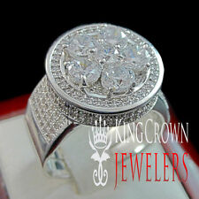 Men14K White Gold Finish Flower Cluster Pave Set 3D Lab Diamond Ring Stretchable
