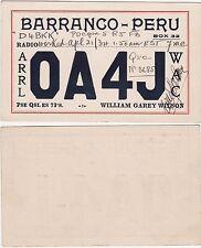 QSL Card BARRANCO PERU 1934 Funk Karte Radio OA4J    ( 80747