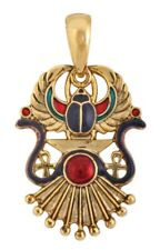 Winged Scarab with Sun Rays Egyptian Gold Tone Unisex Pendant Necklace