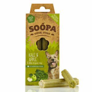 Soopa Healthy Dental Sticks for Dogs Kale & Apple Organic Low Fat Oral