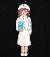 VTG Dough Girl Hand Made Nurse Medical Ornament Figure Xmas Gift Lady Barbara