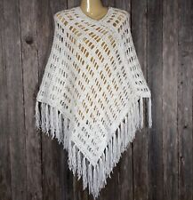 Handmade Womens New White Poncho Sweater Hand Crochet Fringe Boho Hippie Soft