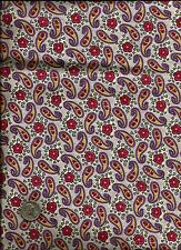 Nice Floral Paisley Print rose green yellow lavender brown on cream Fabric