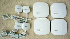 LOT 4 EERO HOME WIFI SYSTEM 1ST GENERATION MOD A010001 & POWER