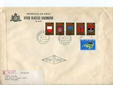 1974 FDC San Marino 9°torneo Balestra Stemmi filat RACCOMANDATA First Day Cover