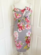 Body Flirt NEW UK size 20/22 grey floral bow detail stretch bodycon dress