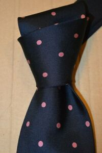 "$145 NWT THOMAS PINK shirtmakers Navy w/Pink spots men's 3.1"" print silk tie"