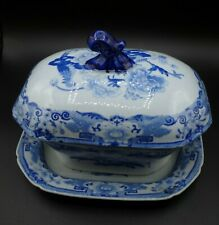 "MASON'S ""BLUE PHEASANTS"" SAUCE TUREEN WITH COVER AND UNDERPLATE"