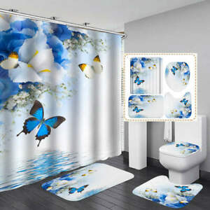 Butterfly Flower Art Shower Curtain Bath Mat Toilet Cover Rug Bathroom Decor