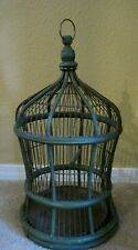 Vintage Bird Cage Wood Wire Dome Spring Door Green Removable Metal Tray Cage