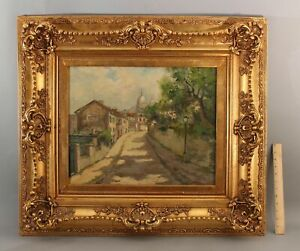 Antique Signed Impressionist French Street Scene Oil Painting & Gilded Frame NR