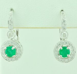0.98ct 14k Solid White Gold Lever Back Natural Colombian Emerald Diamond Earring