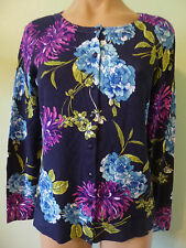 Charter Club Cardigan Sweater XS Button Blue Purple Green Floral Long Sleeve