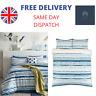 Ideal Home Cotton Duvet Cover Bedding Set - King & Super King - Blue & White
