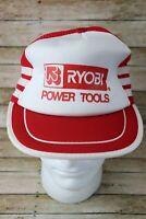 Vintage Ryobi Power Tools Snapback Hat Cap Trucker Mesh 3 Stripe Red & White