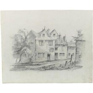 Original Signed Unframed Antique Pencil Hostelry Landscape Sketch Annie Albinson