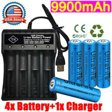 4X 18650Battery 3.7V Li-ion Rechargeable Batteries & USB Charger For Flashlight