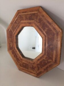 Vintage Geometric 1930s Wooden Inlayed Fruit Wood Walnut Mirror 25cm